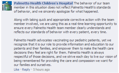 A snapshot of the Facebook page where Palmetto Health Children's Hospital apologizes for the behavior of one of their nurses. (Taken November 5th, 2013)